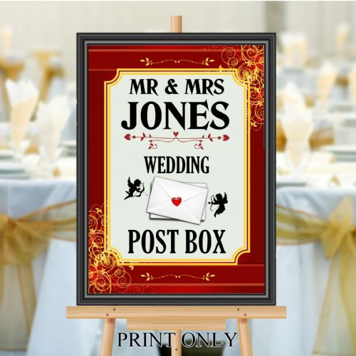 Personalised Wedding Money & Cards Post Box Sign Poster Banner - Print N188